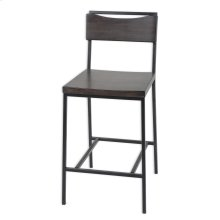 Columbus Metal Counter Stool with Black Cherry Wooden Seat and Matte Black Frame Finish, 26-Inch