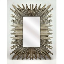 This mirror can certainly serve as a focal point for any room. With its striking silver frame in a modified start burst pattern, this mirror will wow your guests as it hangs over your mantle or in your entryway.