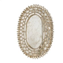Silver Leaf Oval Mirror With Insets