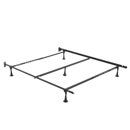 Deluxe Promotional Bed Frame Q84G with Fixed Headboard Brackets and (5) Hercules Glides, Queen