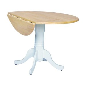 JOHN THOMAS FURNITURERound Dropleaf Pedestal Table in White & Natural