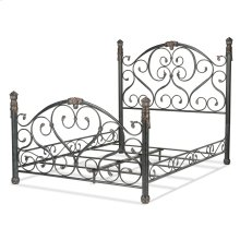 Duchess Complete Bed with Side Rails and Carved Castings, Cerulean Marble Finish, King
