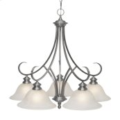 Lancaster 5 Light Nook Chandelier in Pewter with Marbled Glass