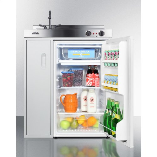 30 Inch Wide All-in-one Kitchenette With 2-burner 115v Coil Cooktop, Auto Defrost Refrigerator-freezer, Sink, and Storage Cabinet