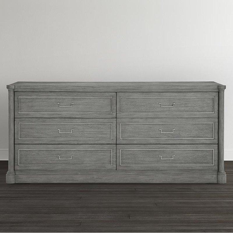 Hidden Additional Anchor Grey Martinique 6 Drawer Dresser