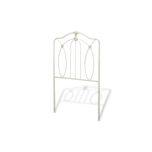 Kaylin Kids Metal Headboard Panel with Medallions Accents, Soft White Finish, Twin