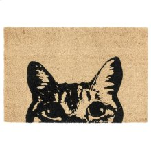 Doormat Curious Cat Black 24x36