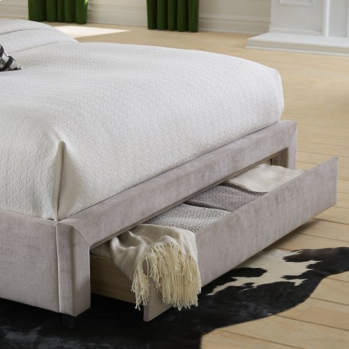 Inverness Complete Upholstered Storage Bed and Bedding Support System with 64-Inch Wide Footboard Drawer, Alabaster Finish, King