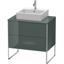 Vanity Unit For Console Floorstanding, Dolomiti Gray High Gloss Lacquer