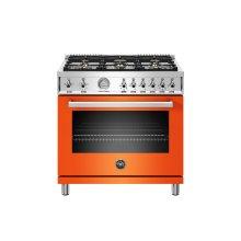 36 inch All Gas Range, 6 Brass Burners Orange