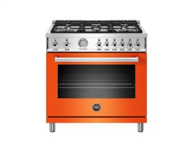 36 inch All Gas Range, 6 Brass Burners Orange