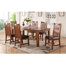 """5PC SET (84"""" Leg Table with 4 Raised Slat Back Side Chairs)"""