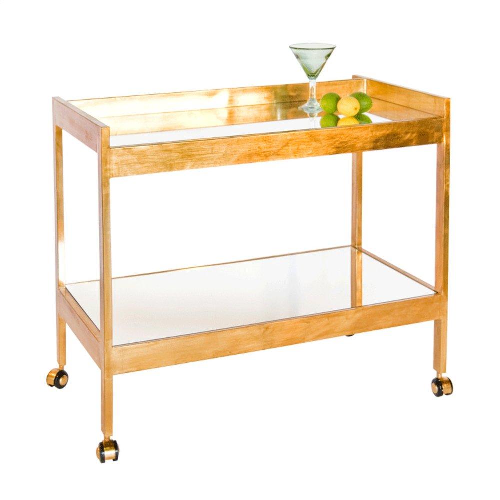 Gold Leaf Bar Cart With Mirrored Shelf.