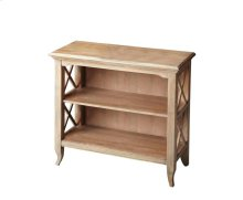 This stylish bookcase is a wonderful accent in a living room, family room, hallway or home office. Made for smaller spaces, versatility is one of its key attributes. Crafted from select hardwood solids and wood products, it features X-shaped side supports