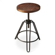This charming industrial-look barstool revolves and adjusts to the desired height, making it an ideal seat for all sizes and tables. With a distressed recycled wood seat, its three-legged design ensures stability and iron circle base serves as a convenien Product Image