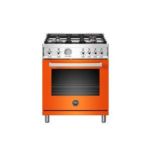 Bertazzoni30 inch All Gas Range, 4 Brass Burner Orange