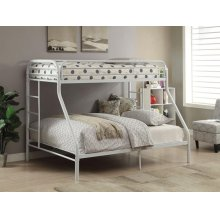 WHITE TWIN XL/QUEEN BUNK BED
