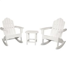 3-Piece All-Weather Rocking Adirondack Patio Set - White