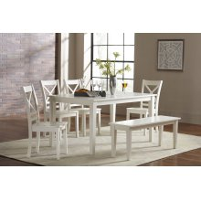 Simplicity Rectangle Dining Table With 6 X Back Chairs- Paperwhite