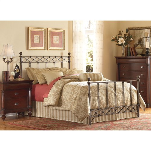 Argyle Complete Bed with Round Finial Posts and Diamond Wire Metal Grill Design, Copper Chrome Finish, King