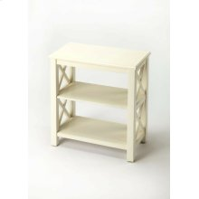 This petite bookcase is perfect wherever space is limited and book storage is needed. Crafted from hardwood solids, wood products and choice birch veneers, it features X side supports and cherry veneer shelves. Finished on all sides.