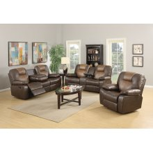 Jordana Two-Tone Brown Leather Gel Recliner Sofa with Drop-down Table
