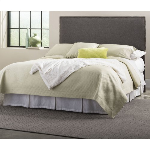 Brookdale Upholstered Headboard Panel with Solid Wood Adjustable Frame and nail head Trim Design, Jitterbug Gray Finish, King / California King