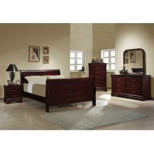 Louis Philippe Traditional Red Brown Sleigh Queen Bed