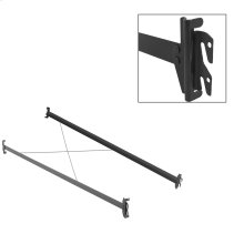 75-Inch 33H Black Bed Frame Side Rails with Hook-On Brackets and Sta-Tite Wires for Headboards and Footboards, Twin / Full