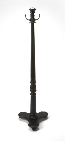 This elegant traditional styled costumer in a Black Licorice finish is a great place to hang your hat... or jacket. Expertly crafted from hardwood solids and wood products, it features delicately carved, fluted post with four antique brass finished doubl