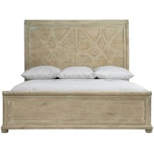 California King-Sized Rustic Patina Panel Bed in Sand (387)