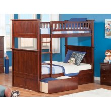 Nantucket Bunk Bed Twin over Twin with Urban Bed Drawers in Walnut