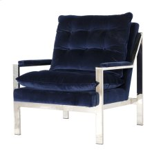 Nickel Plated Arm Chair W. Navy Velvet Cushions Seat Height 20""