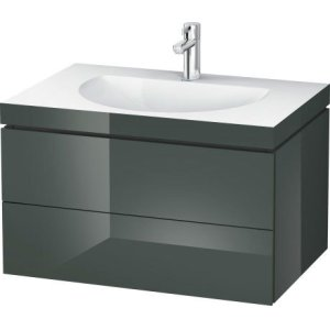 Furniture Washbasin C-bonded With Vanity Wall-mounted, Dolomiti Gray High Gloss Lacquer
