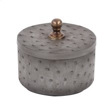 Round Faux Ostrich Skin Decorative Box, Small