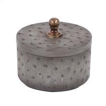 Round Faux Ostrich Skin Decorative Box, Small