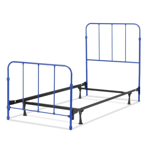Nolan Complete Kids Bed with Metal Duo Panels, Colbalt Blue Finish, Twin