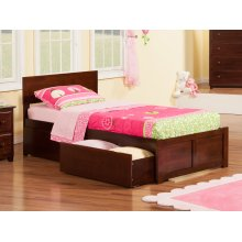 Orlando Twin XL Flat Panel Foot Board with 2 Urban Bed Drawers Walnut