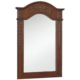 Belle Foret 36 in. x 24 in. Framed Carved Portrait Mirror in Dark Cherry