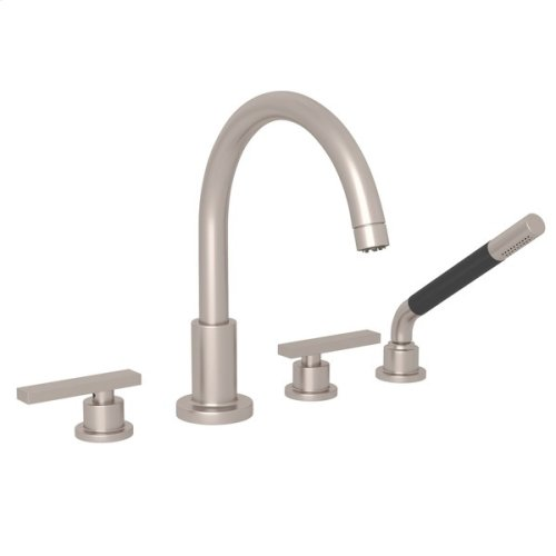 Satin Nickel Pirellone 4-Hole Deck Mount Tub Filler With Handshower with Metal Lever