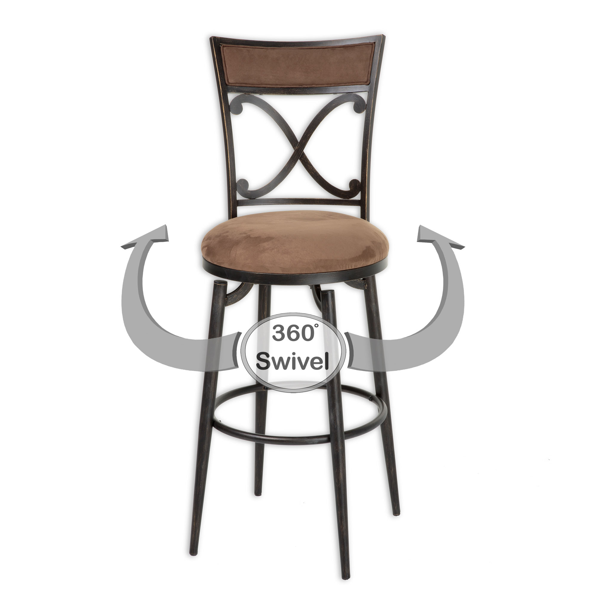 C1M050 In By Fashion Bed Group In Dickson, TN   Montgomery Metal Barstool  With Cocoa Microfiber Swivel Seat And Blackened Bronze Frame Finish, 30 Inch