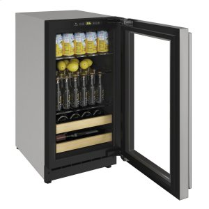 """U-Line2000 Series 18"""" Beverage Center With Stainless Frame (lock) Finish and Left-hand Hinged Door Swing (115 Volts / 60 Hz)"""