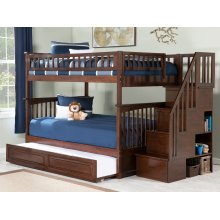 Columbia Staircase Bunk Bed Full over Full with Raised Panel Trundle Bed in Walnut