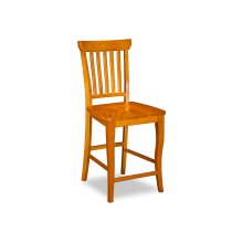 Venetian Pub Chairs Set of 2 with Wood Seat in Caramel Latte