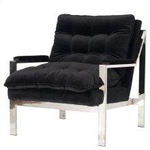 Nickel Plated Arm Chair W. Black Velvet Cushions