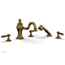 MARVELLE Deck Tub Set with Hand Shower - Lever Handles 162-49 - French Brass