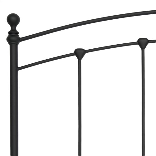 Sanford Bed with Metal Panels and Round Finial Posts, Matte Black Finish, Full