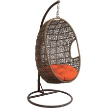 Outdoor Wicker Pod Swing Chair with Orange Seat Cushion