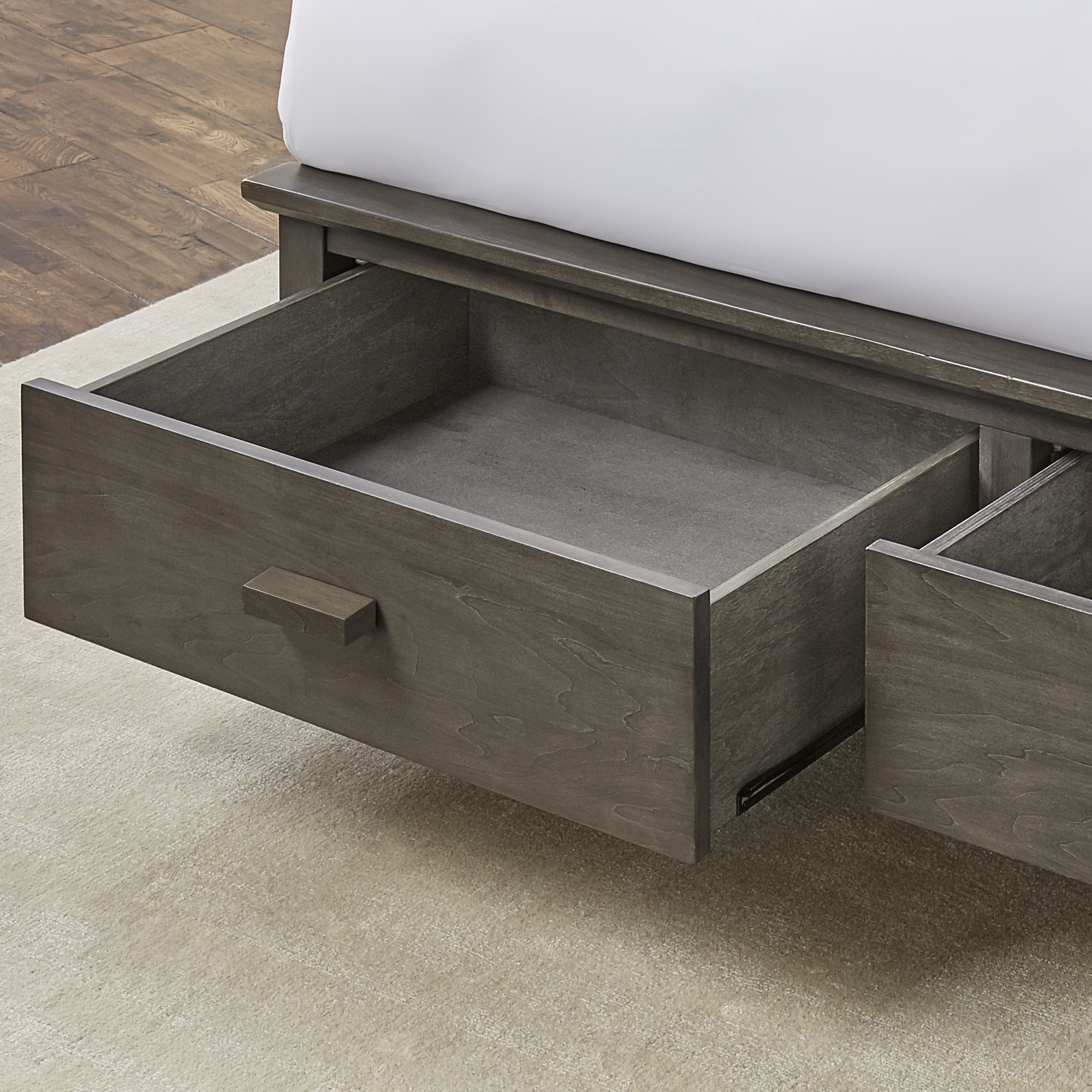 Hampton Storage Bed With Solid Wood Frame And And (2) Footboard Drawers,  Beachwood