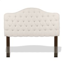 Martinique Button-Tuft Upholstered Headboard with Adjustable Height, Ivory Finish, Twin